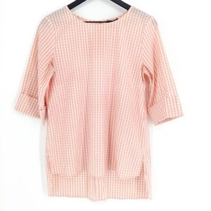 VINCE CAMUTO Gingham Cuffed Sleeve Blouse
